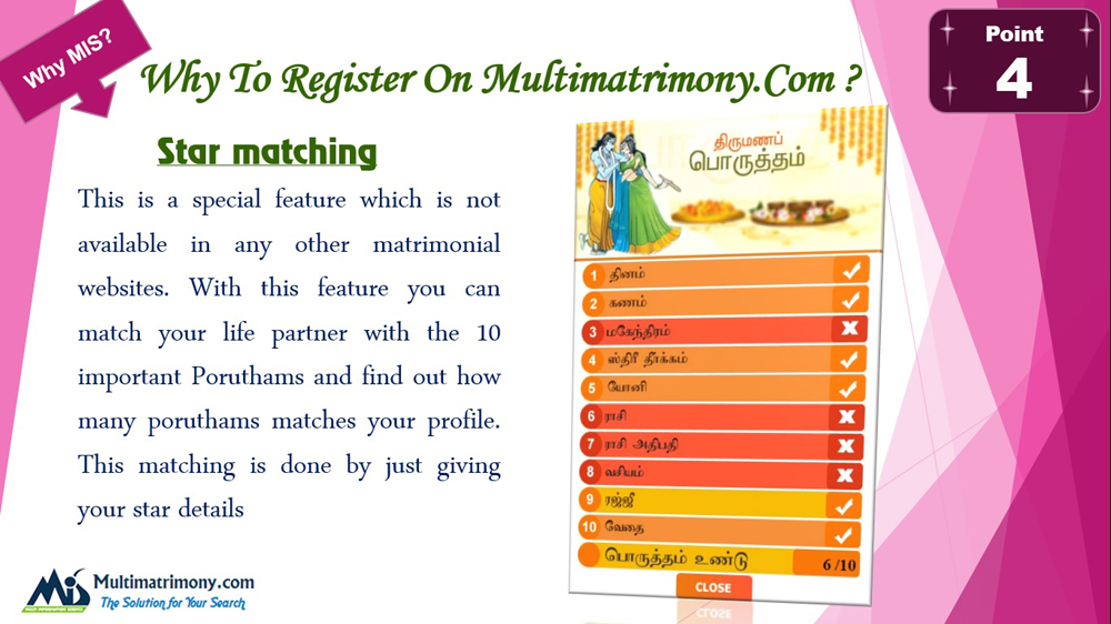 Find tamil star matching for marriage