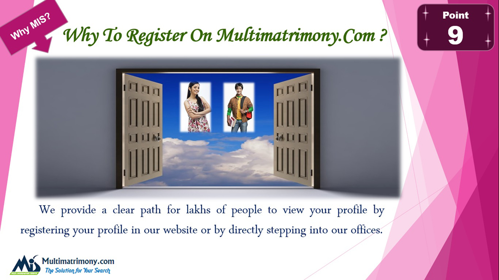 We provide a clear path for lakhs of People - Register now Multimatrimony.com