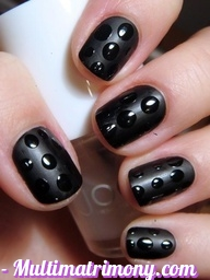 Black Color Nail arts
